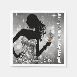Margie Bling Bombshell Sparkle Birthday   silver Disposable Serviette