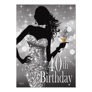 Margie Bling Sparkle 40th Birthday | silver 5x7 Paper Invitation Card