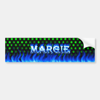Margie blue fire and flames bumper sticker design. car bumper sticker