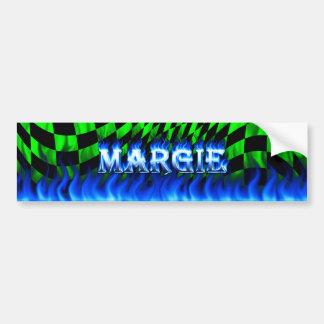 Margie blue fire and flames bumper sticker design.