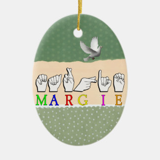 MARGIE NAME SIGN ASL FINGERSPELLED CHRISTMAS TREE ORNAMENT