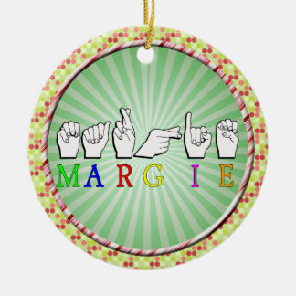 MARGIE NAME SIGN ASL FINGERSPELLED CHRISTMAS TREE ORNAMENTS