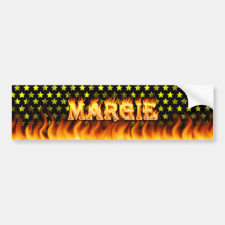 Margie real fire and flames bumper sticker design.