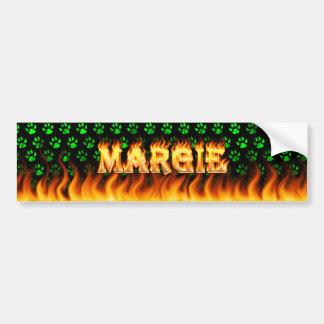 Margie real fire and flames bumper sticker design. car bumper sticker