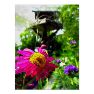 Margie's Birdhouse And Pink Flower Poster