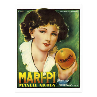 MARI-PE VALENCIA ORANGE VINTAGE ART LABEL LG POSTCARD