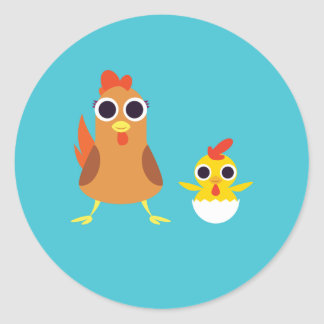 Maria & Bandit the Chickens Classic Round Sticker