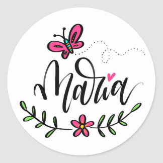 Maria, hand lettered classic round sticker