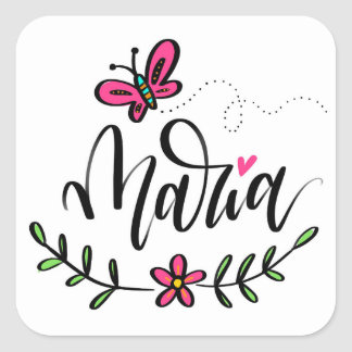 Maria, hand lettered square sticker