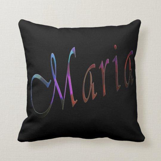 Maria, Name, Logo, Black Throw Cushion. Cushion