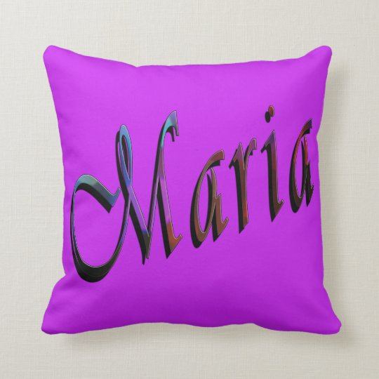 Maria, Name, Logo, Purple Throw Cushion. Throw Pillow
