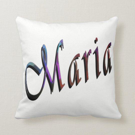 Maria, Name, Logo, White Throw Cushion. Throw Pillow