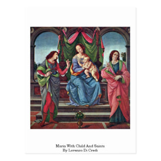 Maria With Child And Saints By Lorenzo Di Credi Postcard