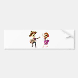 Mariachi Dancing Day of the Dead Couple Bumper Sticker