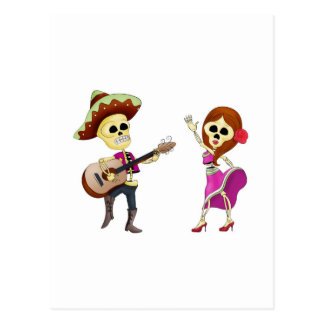 Mariachi Dancing Day of the Dead Couple Postcard