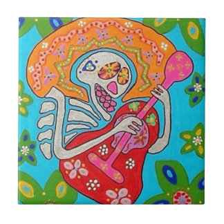 Mariachi Serenade - Day Of The Dead Skeleton Ceramic Tile