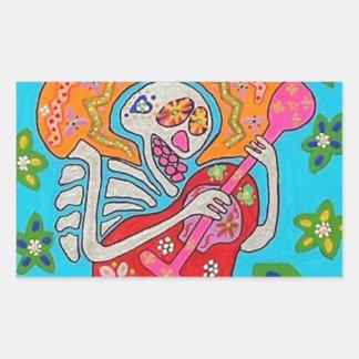 Mariachi Serenade Guitar Skeleton Sticker