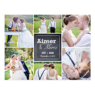 Mariage de collage craie merci cartes postales postcard