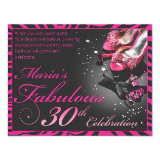 """Maria's Fabulous 30th 4.25"""" X 5.5"""" Invitation Card"""