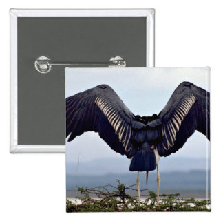 Maribu stork with outstretched wings 15 cm square badge