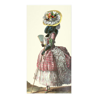 Marie Antionette Black Poodle 18th Century Costume Personalized Photo Card