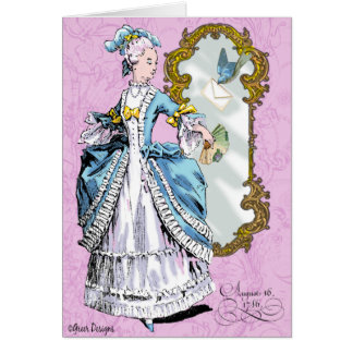 Marie Antoinette and Bluebird Greeting Card