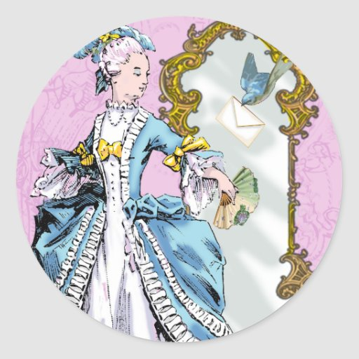 Marie Antoinette and Bluebird Round Sticker