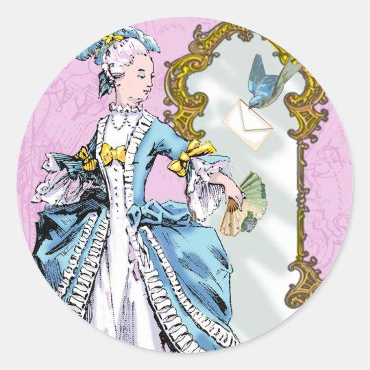 Marie Antoinette and Bluebird Round Sticker