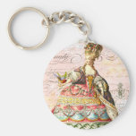 Marie Antoinette and Pink Paris Basic Round Button Key Ring