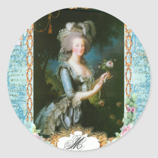 Marie Antoinette and Pink Roses Round Sticker