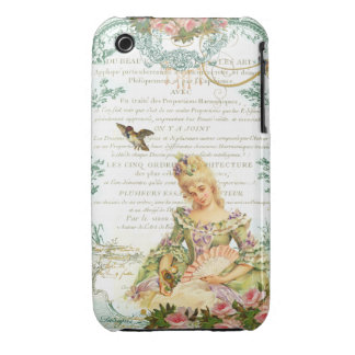 Marie Antoinette and Sparrow French Script Case-Mate iPhone 3 Case