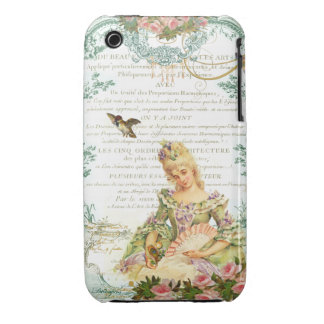 Marie Antoinette and Sparrow French Script iPhone 3 Covers
