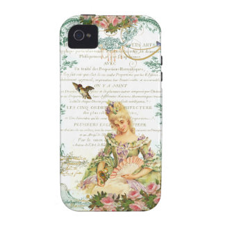 Marie Antoinette and Sparrow French Script iPhone 4/4S Cover