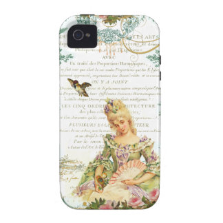 Marie Antoinette and Sparrow French Script Vibe iPhone 4 Cases