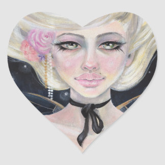 Marie Antoinette and the Cherry Topped Cupcake Heart Sticker