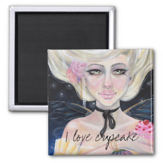 Marie Antoinette and the cherry topped cupcake Square Magnet
