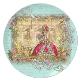 Marie Antoinette at Versailles Party in Aqua Plate
