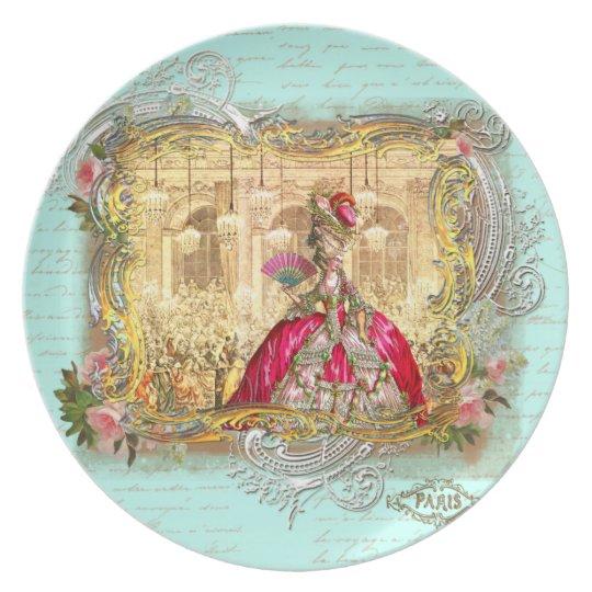 Marie Antoinette at Versailles Party in Aqua Plate