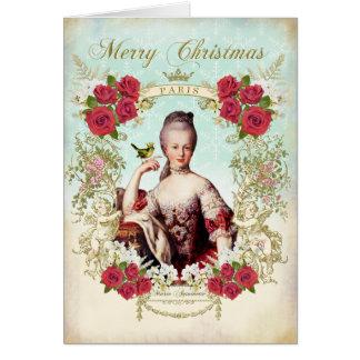 Marie Antoinette Bird Red Roses Christmas Card