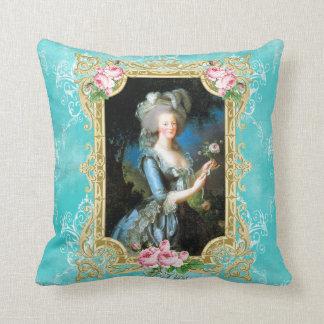 Marie Antoinette Blue Damask Rose  Pillow cushion Cushion