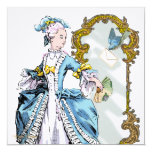 """Marie Antoinette Bluebird & Mirror 5.25"""" Square Invitation Card"""