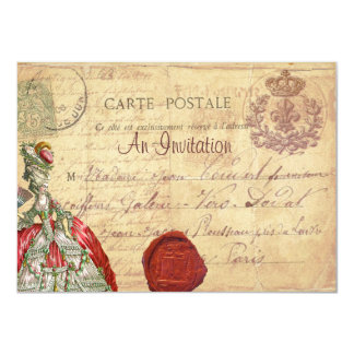 "Marie Antoinette Carte Postale Parisian Invitation 4.5"" X 6.25"" Invitation Card"