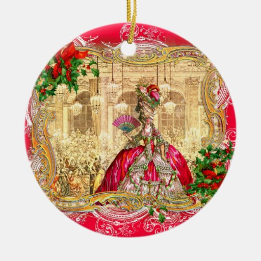 Marie Antoinette Christmas at Versailles Round Ceramic Decoration