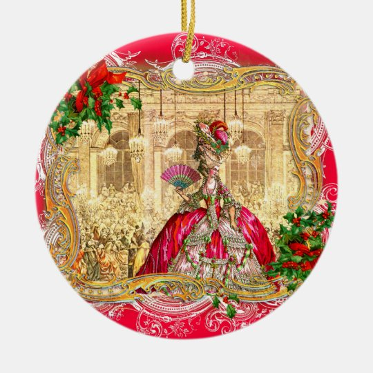Marie Antoinette Christmas at Versailles Round Ceramic Decoration