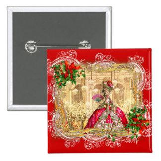 Marie Antoinette Christmas Ball Pinback Buttons