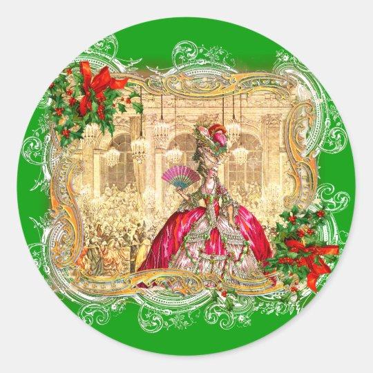 Marie Antoinette Christmas Ball Round Sticker