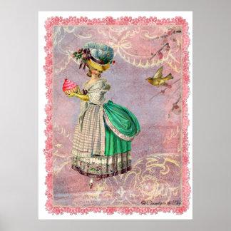 Marie Antoinette Cupcake Bird Poster Print