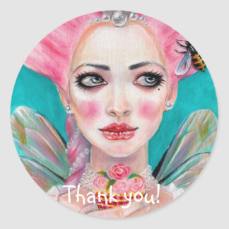Marie Antoinette Cupcake Faerie Pink Haired Fairy Round Sticker