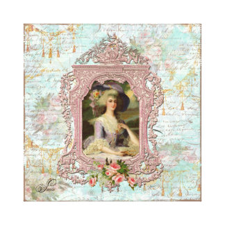 Marie Antoinette Framed in Pink Stretched Canvas Print