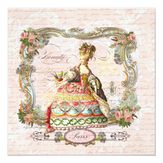 Marie Antoinette French Script and Pink Roses 13 Cm X 13 Cm Square Invitation Card